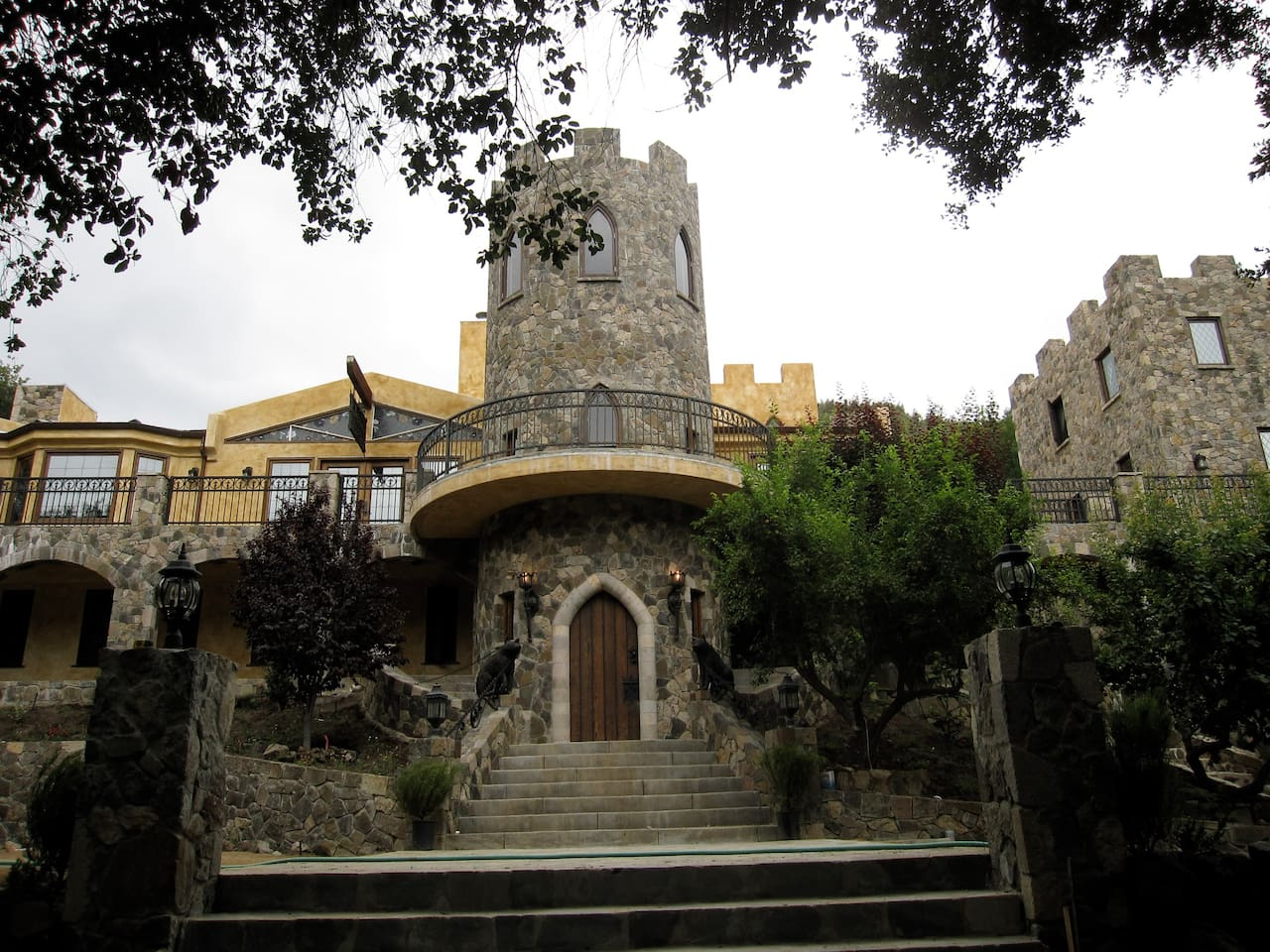 Every dream of staying in a Castle near Malibu, CA? The stone tower on the right is yours for the night!