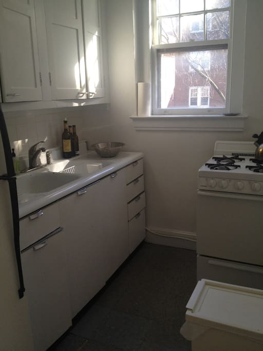 Kitchenette for your convenience with gas stove, full refrigerator and French press for your use!