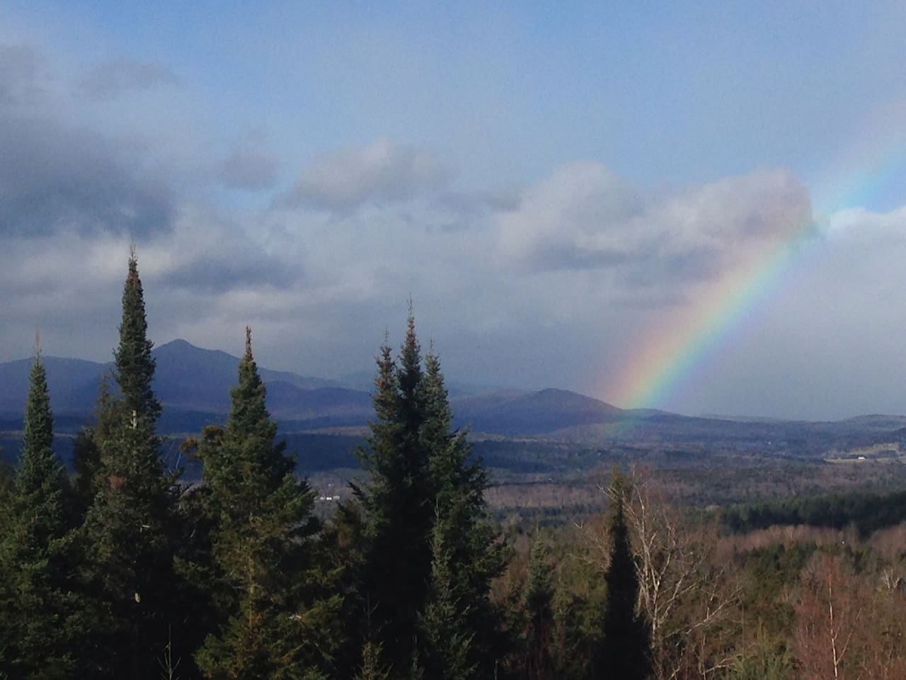 Somewhere over the rainbow... the view right from your Treetops Ensuite windows in early spring.