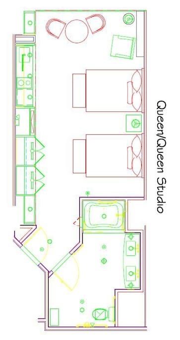 floor plan of the 2 queen bed studio