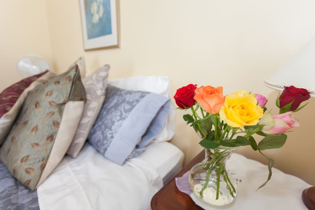 flowers make a pretty addition to the room.