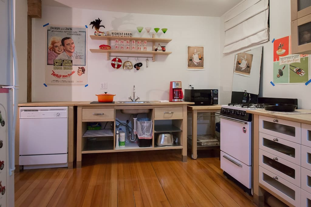 Full kitchen includes refrigerator, stove/oven, microwave, dishwasher, toaster, the works.