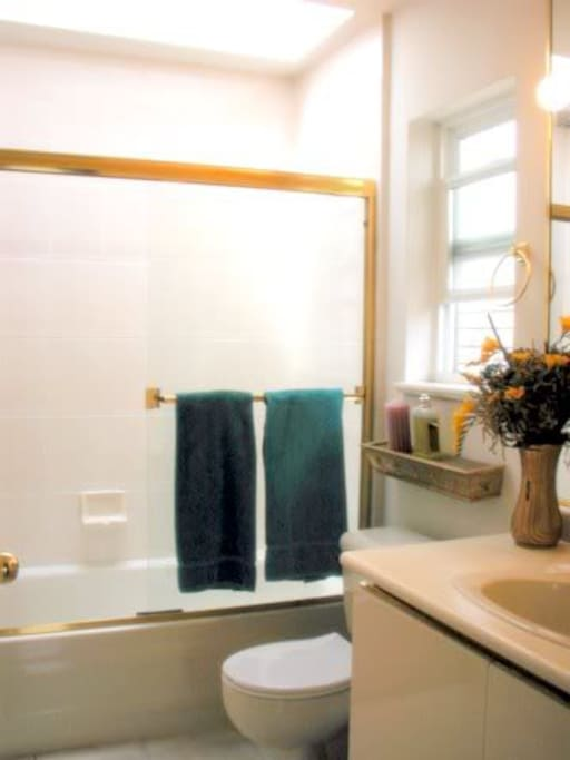 Private bathroom, full, bright with skylight