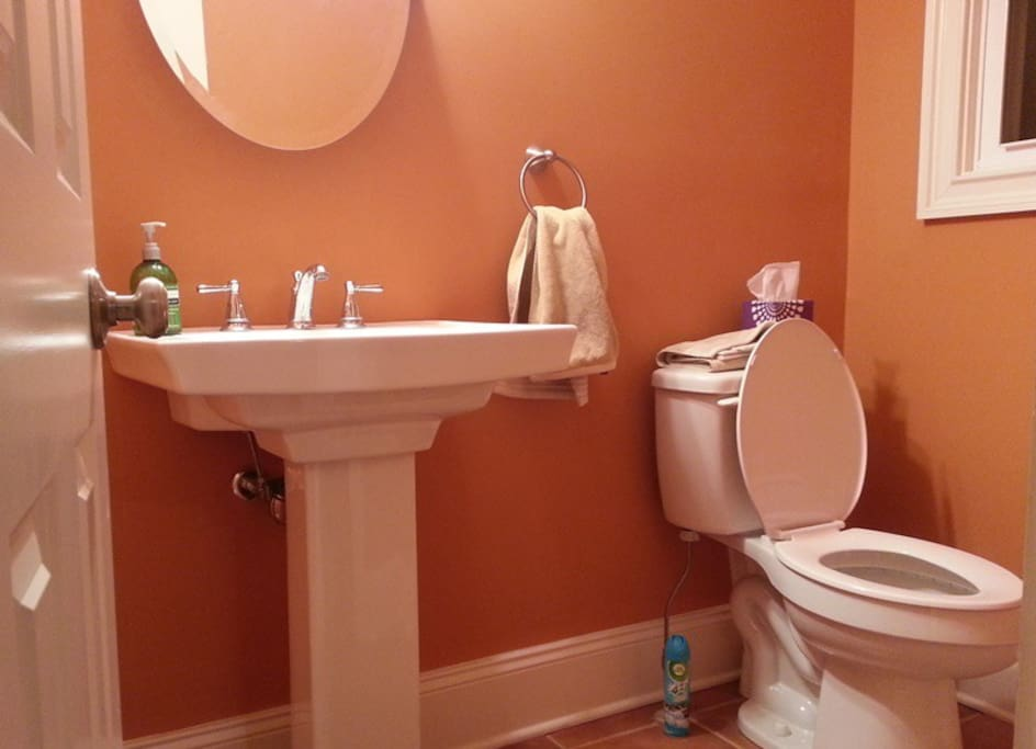 Private half bath, full bath and shower upstairs