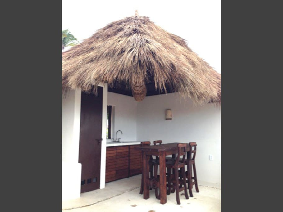 Rooftop palapa and bar area