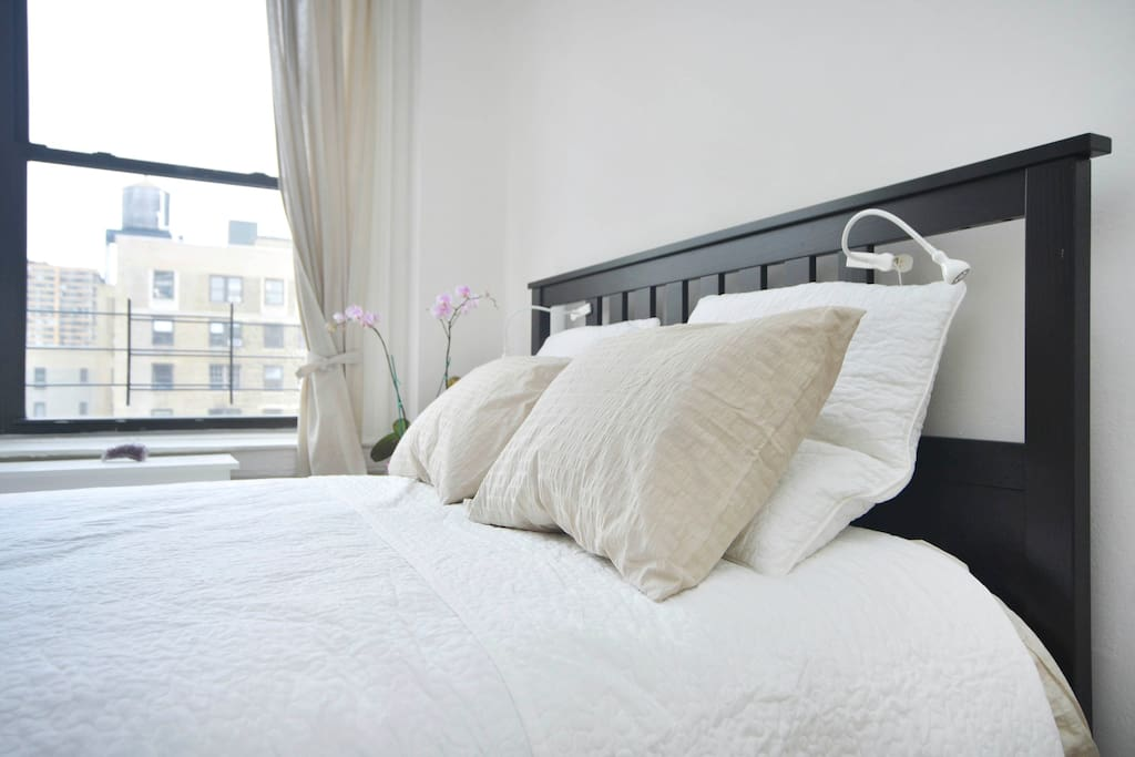 A big guest room 5m 40 cm By 4m 30 cm. South facing. Free view towards midtown.