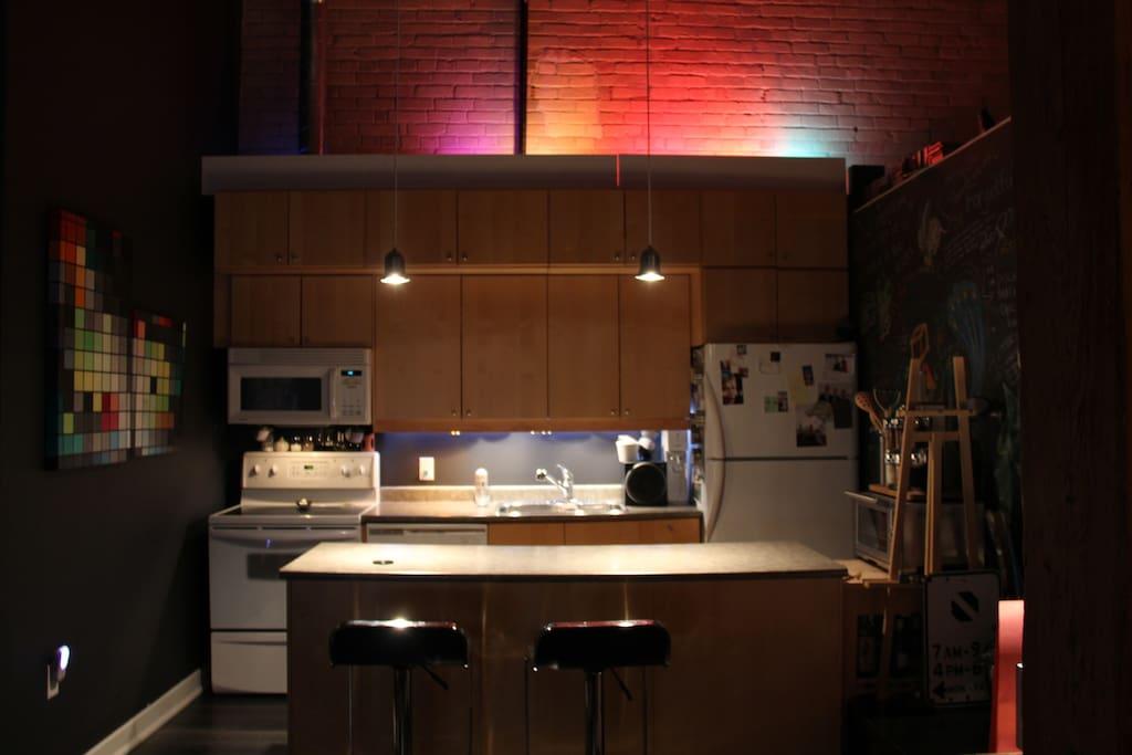 Kitchen at night. Red Lighting Theme