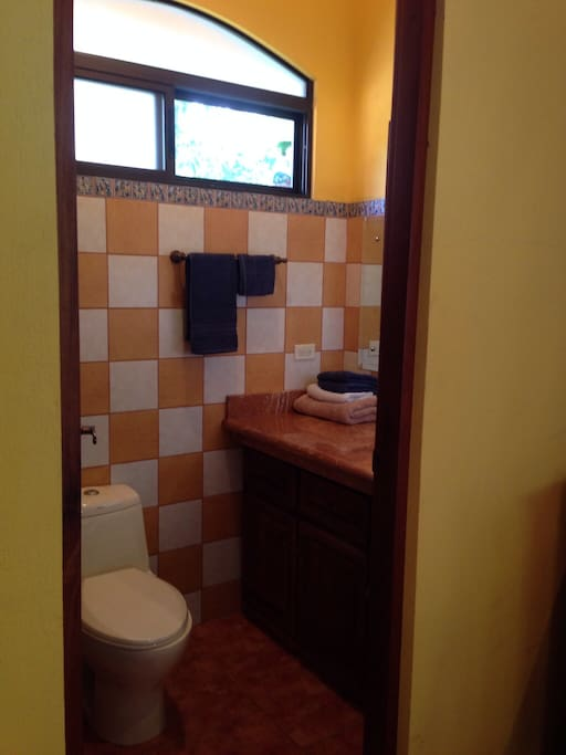 Bathroom and shower separate.