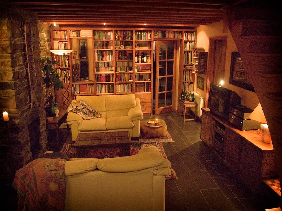 Fireplace, natural timber, stone walls, books