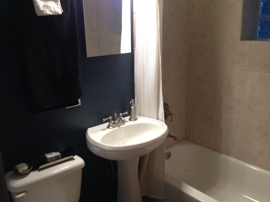 Clean bath with plenty of hot water.  Ask us if you need any toiletries.