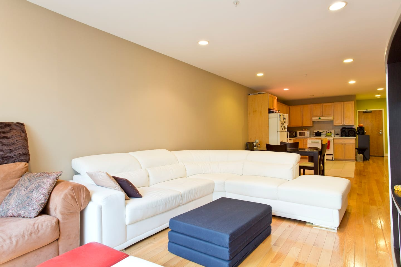 Living room with elegant white sofa