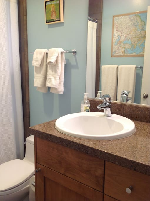 Private bathroom with tub/shower between bedroom and sittingroom.