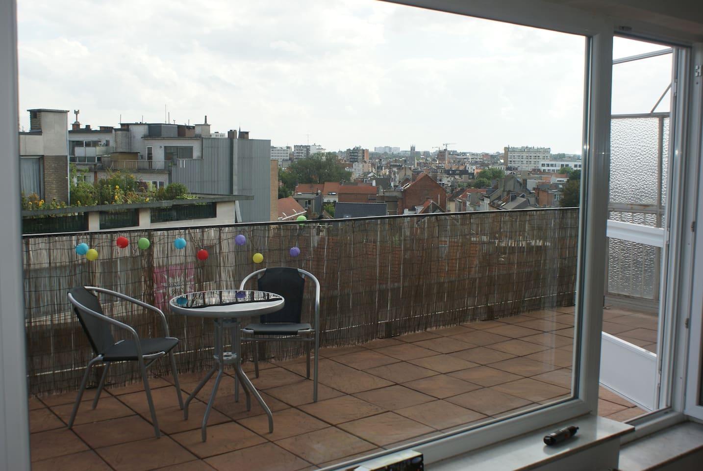 Terrace overlooking the city.