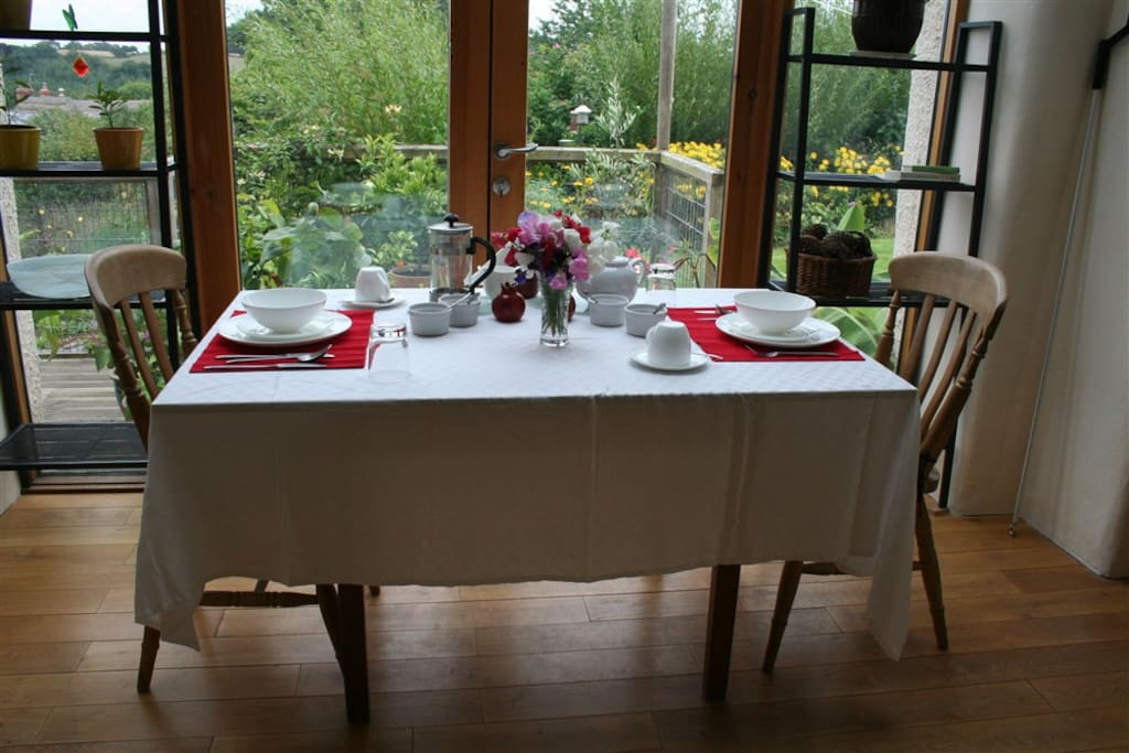 Breakfast is served with views across the gardens