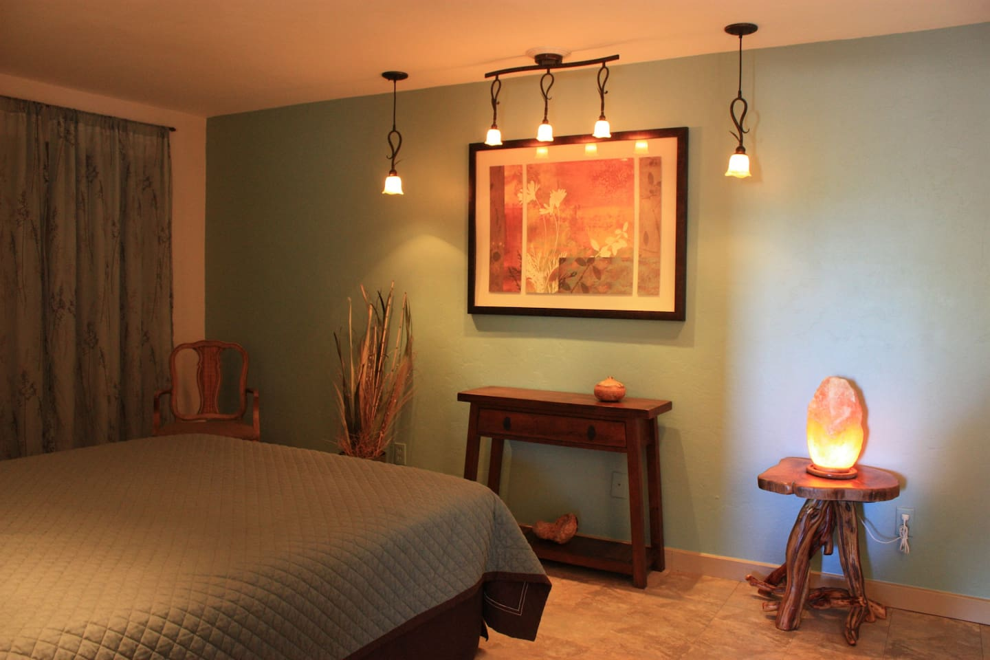 non-toxic painted bedroom w/queen bed, closet, dresser, desk, stereo and air purifier