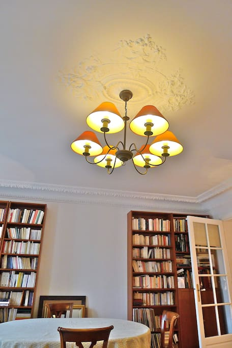 Library in the living room, and old stucco ceilings