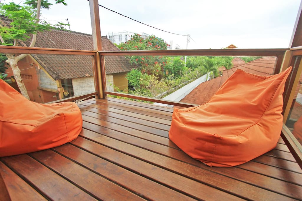 Sweet little balcony with bean bags to relax and watch the sunset