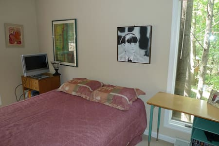 Private bedroom & bath w/wooded lot
