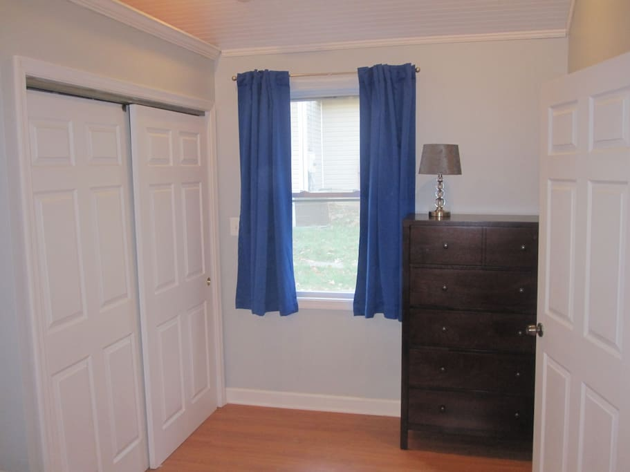 The bedroom has a large closet.