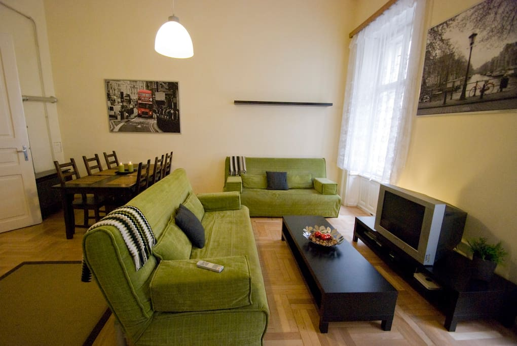 living room with flat screen TV with world channels and fast & secured WiFi internet access