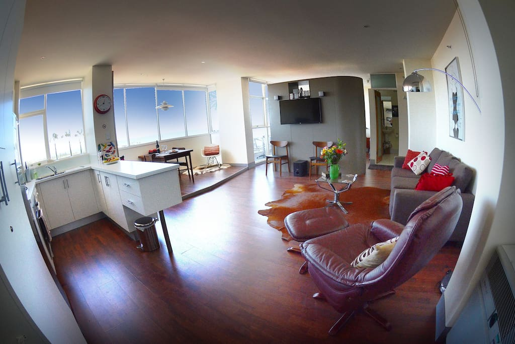 Easy chair with ottoman - living area (using a fish-eye lens)