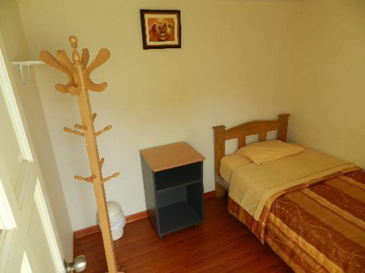 This is one of the rooms,  clean,  small and private