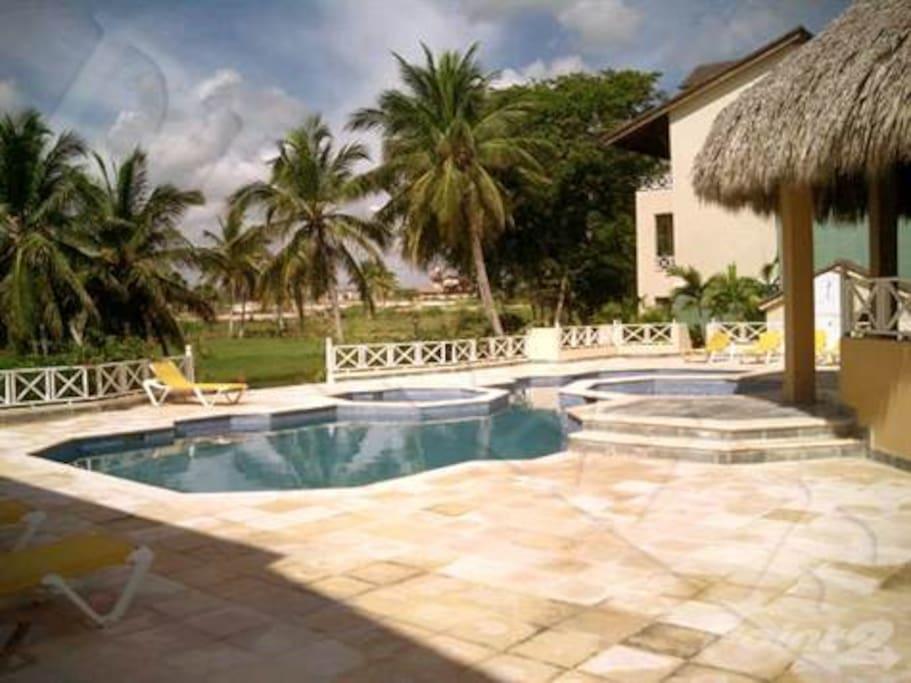 Pool area of the condo.