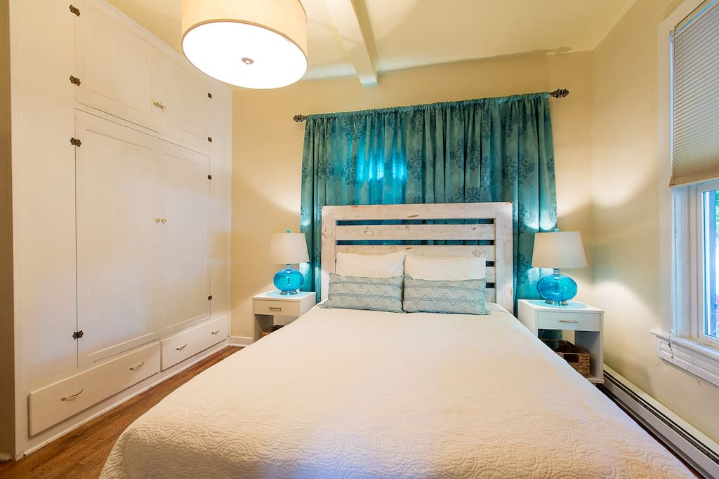 Comfortable queen bed and a built in closet.