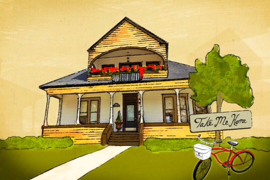 "An artist-rendered sketch of the Boise Guest House. Our motto is ""Take me home."""