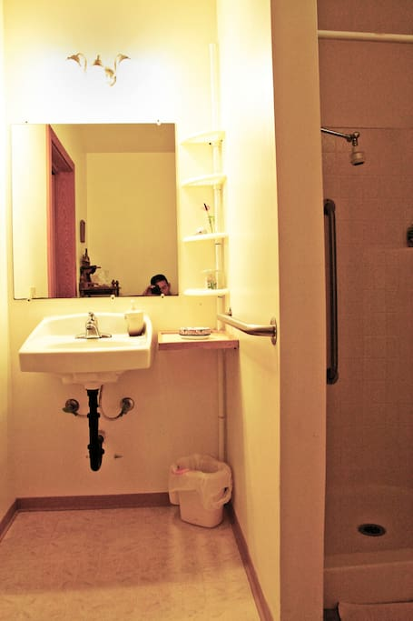 Accessible sink and shower - we have a shower bench if needed.