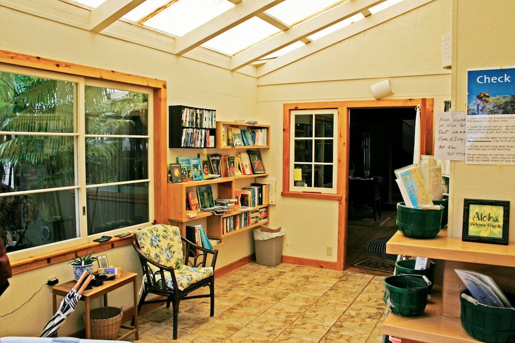 The Check In porch is right outside your dooe, with books and dvds.