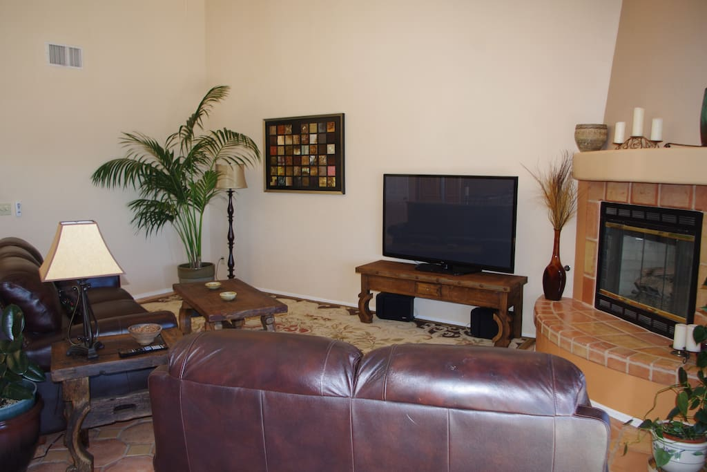 Your room features its own TV, or you can kick back with the larger model in the living room.