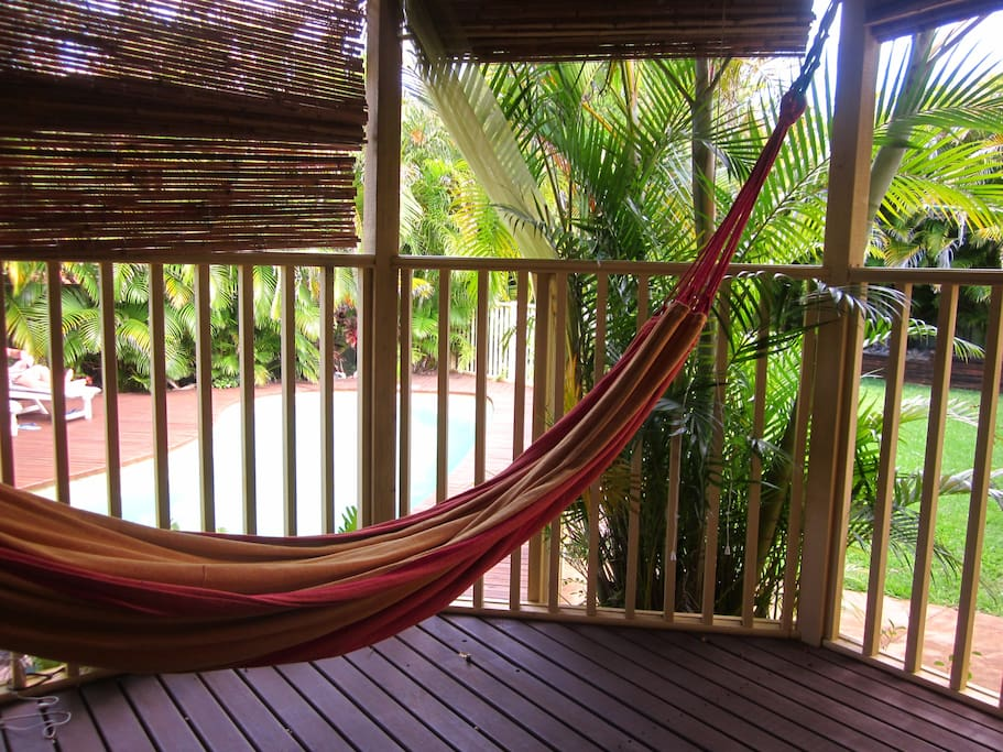 The view of your private deck. Be aware, once you're in the hammock, it gets very hard to come out :)
