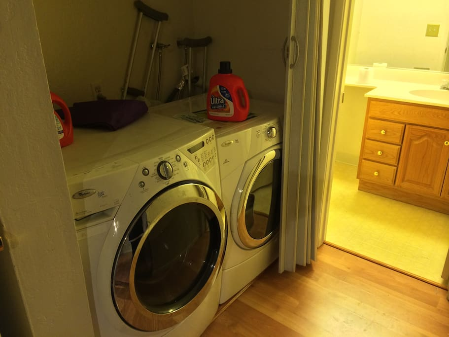 The pad comes with a washer/dryer. Feel free to use them