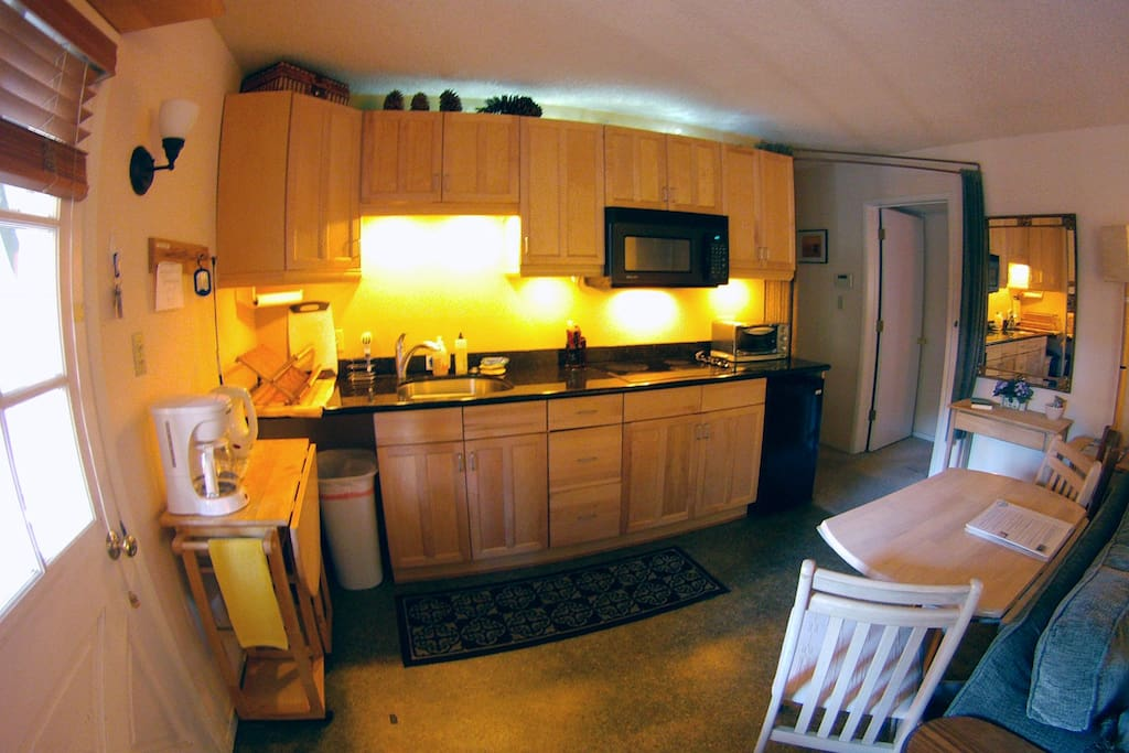 Fully loaded kitchenette has small frig, stove top and   toaster/oven
