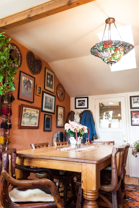 Dining room adorned with Native American art.