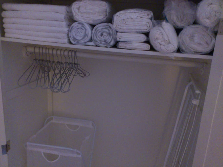 In the room you'll find towels, extra blankets, umbrellas, iron board, iron and hair dryer for your use.