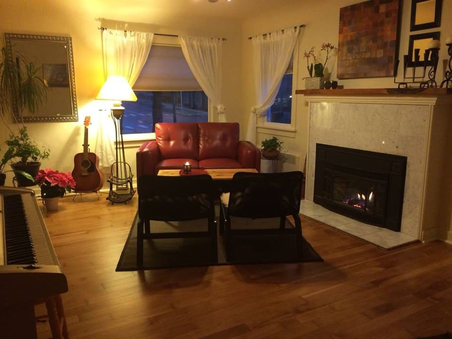 The Music Room has a gas fireplace, keyboard, guitar, marimba and other percussion instruments.