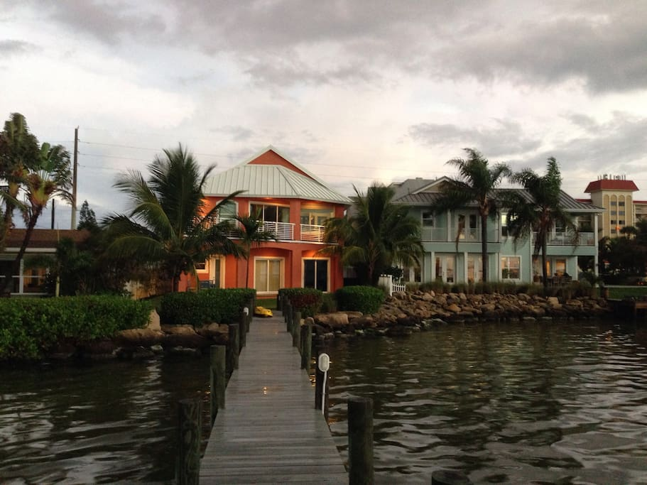 looking at the house from the 130ft dock