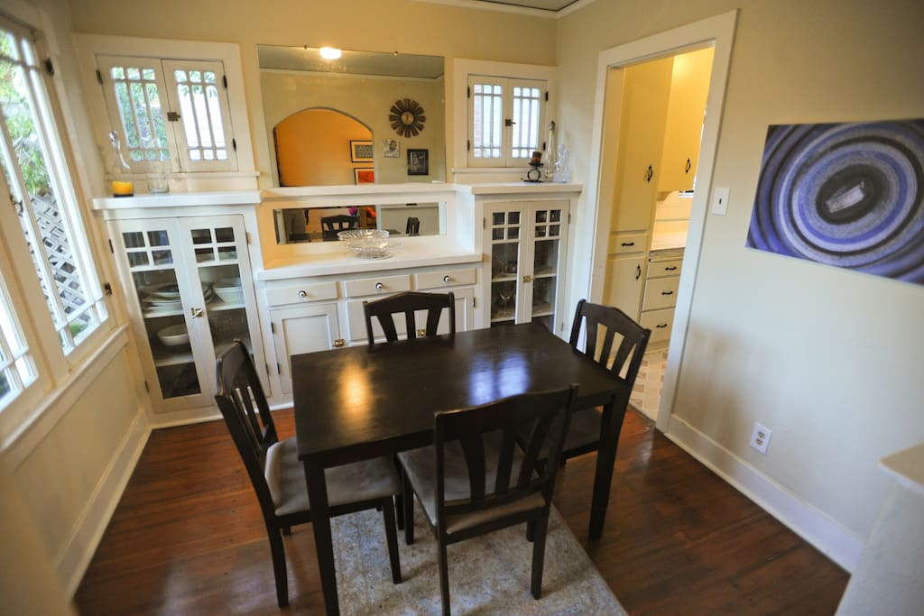 The dining room with the Craftsman built-ins.