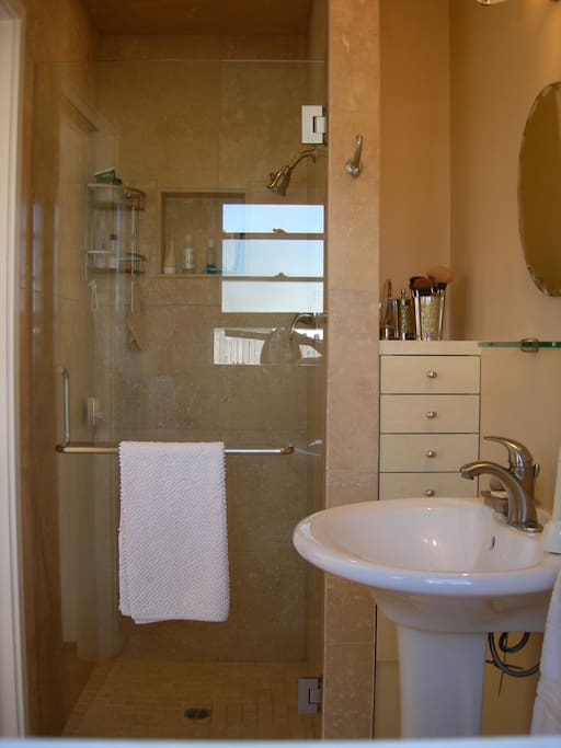 travertine bathroom and shower