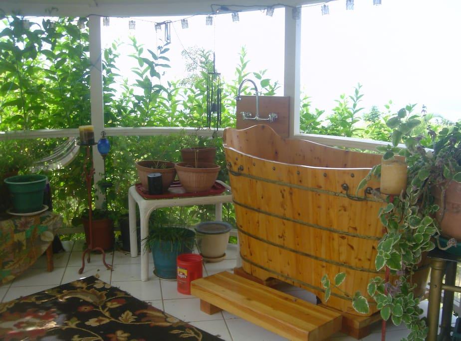 Furo soaking tub on lanai