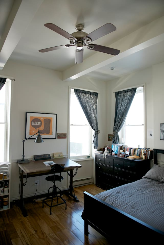 HUGE bedroom with tons of sunlight. High ceilings and more space than any hotel will offer!