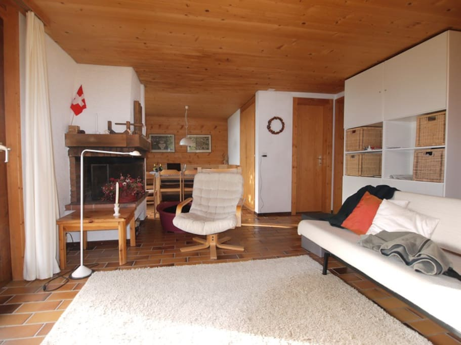 Living room, sleeping sofa, dinner table, door to the sleeping room, fire place...