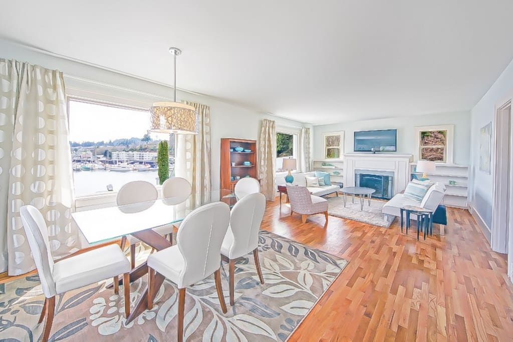 open dining room and living room with wonderful natural light and views