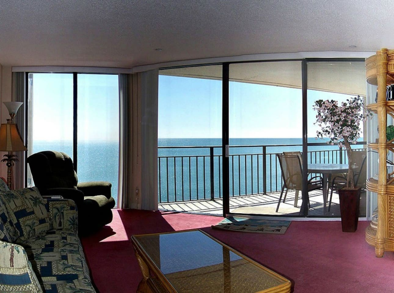 The ocean view is a major focal point of the living space.