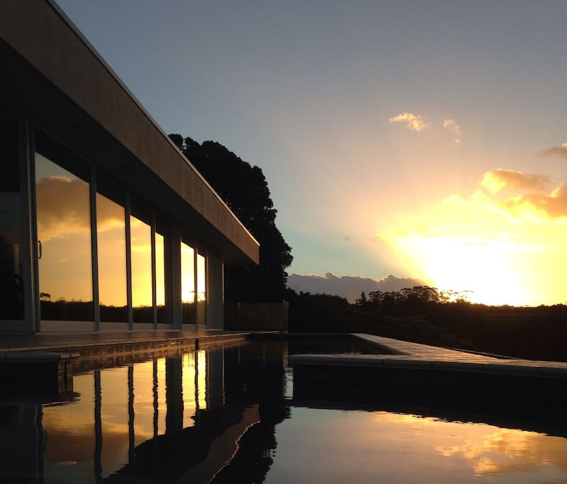 Great sunsets reflect along the northside of the house.