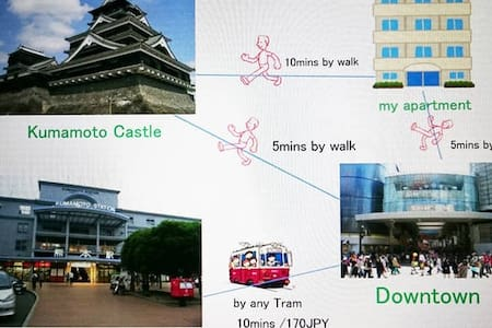 uptown & 10mins to Castle by walk - Kumamoto - Apartament