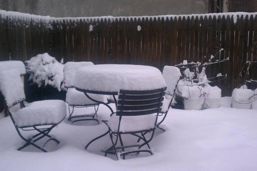 Private patio in snow