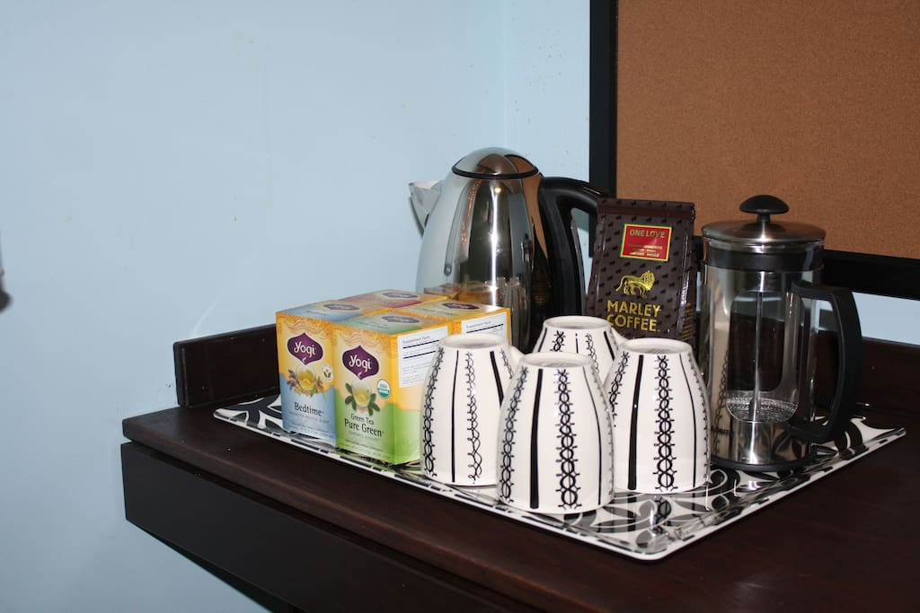 Tea and coffee to warm you in the morning or after a great day of your mt adventures.